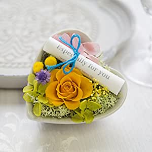 JewelzGift(ジュエルズギフト) プリザーブドフラワー 陶器ケース入り ギフト アレンジ 「水のいらないお花」 【全2色】 オレンジ