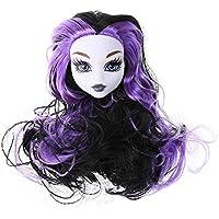 Domybest 人形頭 人形アクセサリー ウィッグ ヘア 人形ヘッド バービー ケーキ人形 魔女 エルフ DIY 玩具 ドール髪 かつら ボディアクセサリー キット 着せ替え人形パーツ ごっこ遊び キッズ 女の子 可愛い パープル
