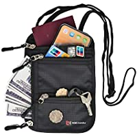 RFID Blocking Travel Neck Wallet for Men Women, Passport Holder Neck Stash Neck Pouch to Keep Your Cash And Documents Safe, Water Resistant, Security, Slim, Light Weight (Black)