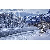 川、雪、氷、白 キャンバスの 写真 ポスター 印刷 旅行 風景 景色 - (105cmx70cm)