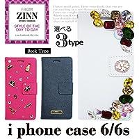 ZINN 手帳型アイフォンケース iphone6/6s book type ビジュー チャーム プレート Hホワイト
