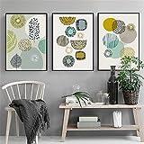 DOLUDO抽象的な幾何学 キャンバス絵画 壁掛け北欧スタイルのポスター壁アート 部屋飾り ベッドルームのリビングルーム装飾 3パネルセット (木枠付きの完成品)30x50cmx3