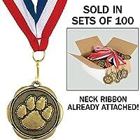 100のセットAward Medalsリボンで首に–Paw