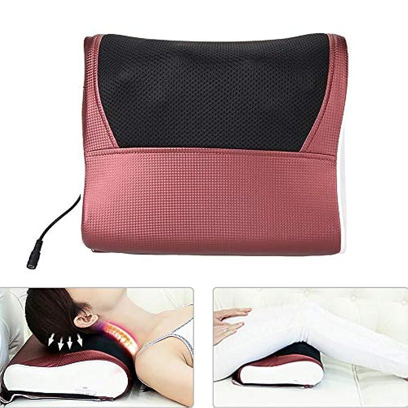 電気ネック枕、指圧マッサージ枕熱深部組織混練振動マッサージ枕筋肉痛救済ホームオフィス車のベッド使用(US-Plug)