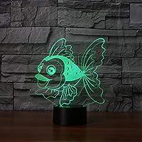 WZYMNYD 7色変更3d ledラブリーフィッシュベビースリープ照明テーブルランプusbタッチボタンナイトライトアメージングキッズ金魚ギフト