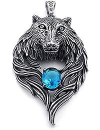 [テメゴ ジュエリー]TEMEGO Jewelry メンズキュービックジルコニアステンレススチールヴィンテージゴシックウルフヘッドペンダントネックレス、ブルーシルバー[インポート]