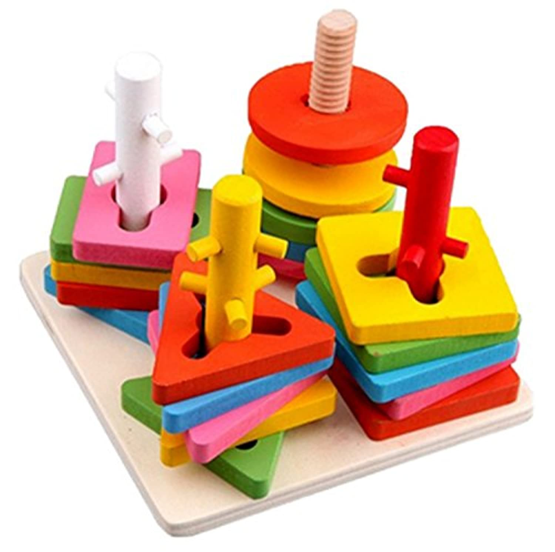 bestwoo木製教育玩具ジオメトリ列並べ替えBuilding Blocks