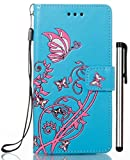 [WIITOP] Huawei P10 Lite 専用 財布型 手帳型 耐衝撃 ケース カバー 手帳ケース ギャラクシー カバー PU合皮レザー ?カードホルダー バンパー スタイラス ( ブルー )( Not Fit Huawei P10 / P10 Plus )