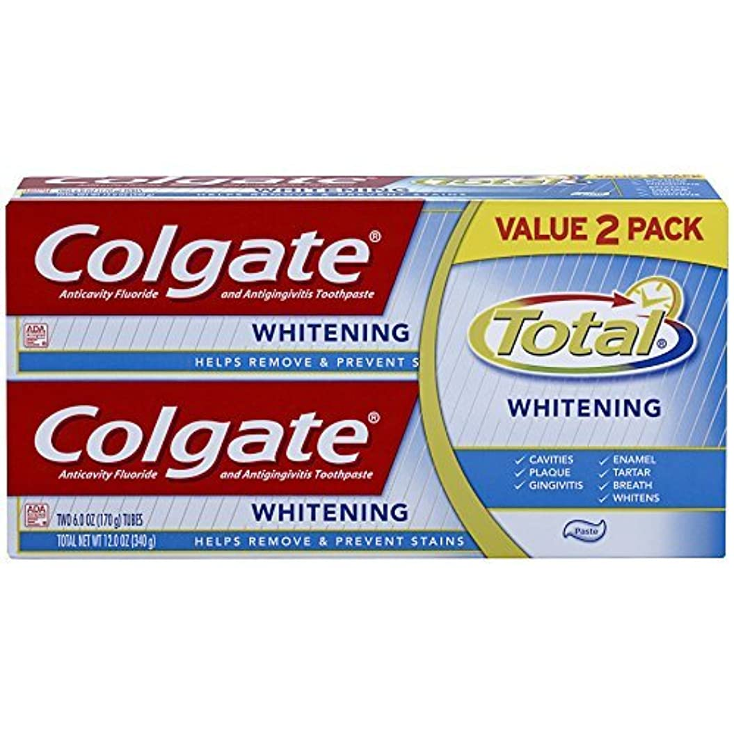 付き添い人バズ暫定のColgate Total Whitening Toothpaste Twin Pack - 6 ounce [並行輸入品]
