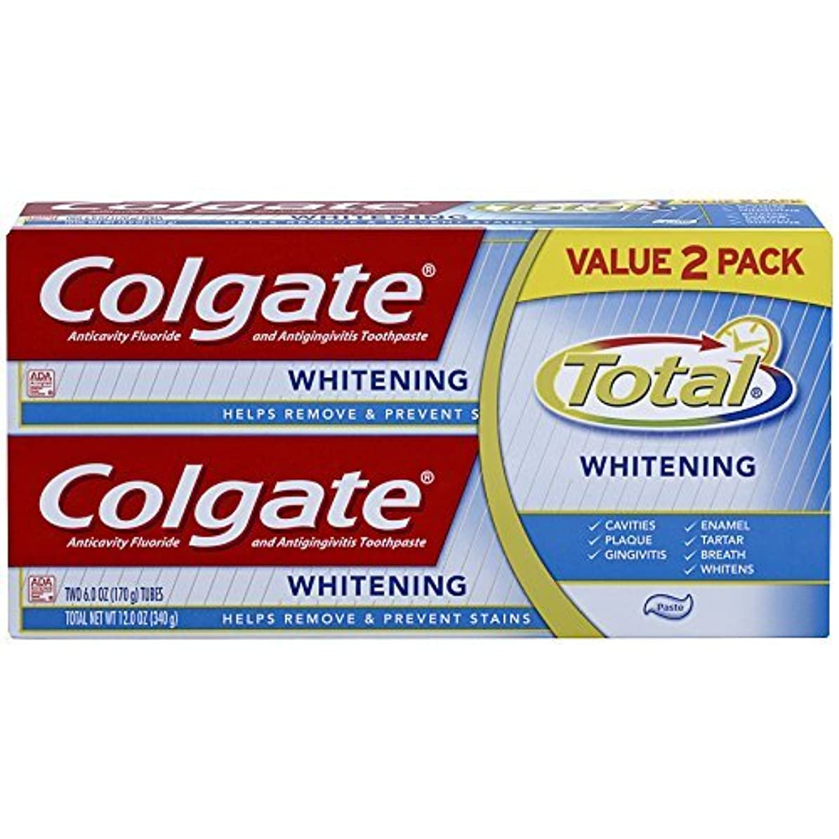 遅い相反する枯渇Colgate Total Whitening Toothpaste Twin Pack - 6 ounce [並行輸入品]