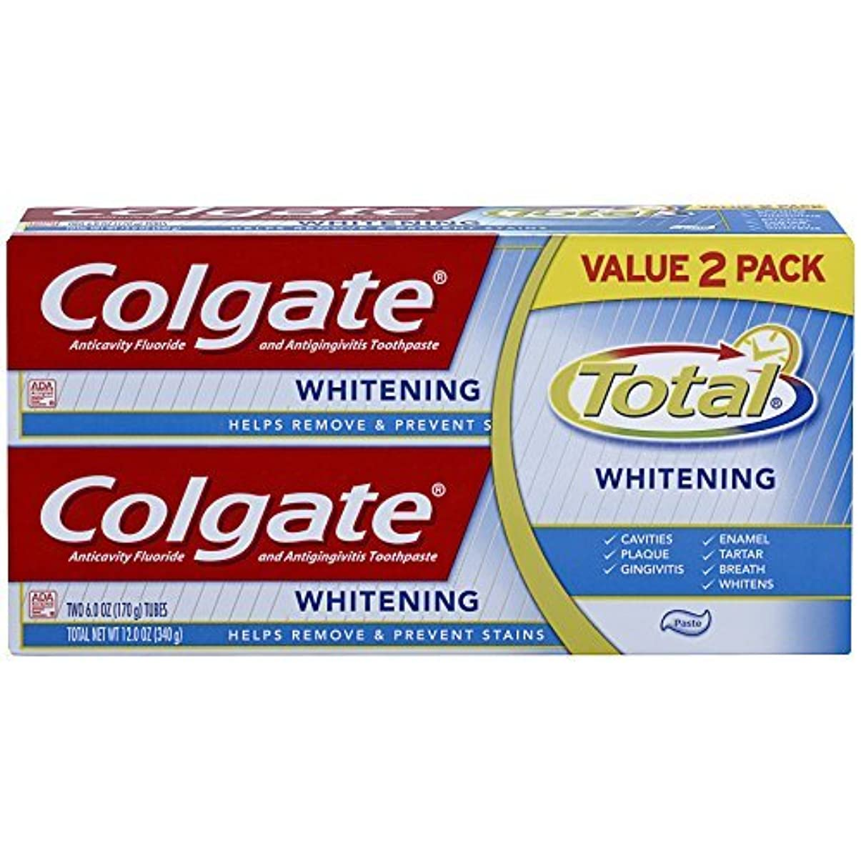 費やす欠如昼寝Colgate Total Whitening Toothpaste Twin Pack - 6 ounce [並行輸入品]