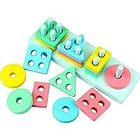 Dreampark木製教育Preschoolおもちゃ、子供の幼児用おもちゃ形状色認識の幾何ブロックスタックボードパズルおもちゃ誕生日ギフト