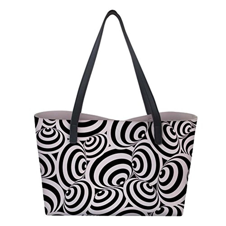 Bigcardesigns ハンドバッグ 人気 A4サイズ応対 2点セット 黒白色