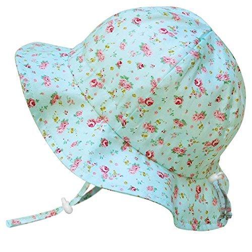 ベビー UPF50+ 紫外線防止 帽子 サイズ調整可能 あごひも付き(S: 0-9ヶ月, レトロなバラ)
