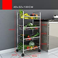 手押しラック304ステンレス鋼プーリー着陸多層キッチン、浴室収納ボックス収納棚 (サイズ さいず : 49*32*100cm-a)