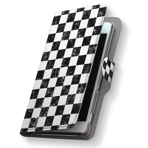 GALAXY S4 SC-04E ケース 手帳型 スマコレ 全機種対応 有り レザー 手帳タイプ 革 フリップ ダイアリー 二つ折り 横開き 革 SC04E ケース スマホケース スマホカバー チェック・ボーダー 000242 Samsung サムスン docomo ドコモ 市松模様 モノクロ d-sc04e-000242-nb