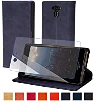 steady advance 最高級 本革 (牛革) Asus Zenfone 3 ZE520KL エイスース スマホ ケース 手帳型 < 硬度 9H 強化 ガラスフィルム > セット (Asus Zenfone 3 ZE520KL, スマルトブルー)