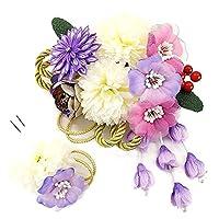 髪飾り 2点セット kk-354 パープル 紫 ホワイト 白 ピンク 花 かんざし つまみ細工 コーム型 振袖 成人式 卒業式 結婚式 七五三 袴 和装