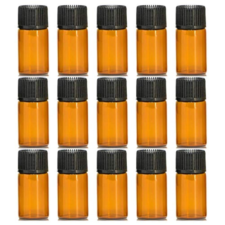 複製するエロチック喉頭アロマオイル 精油 遮光瓶 遮光ビン ガラスボトル ガラス製 エッセンシャルオイル 保存用 保存容器詰め替え 茶色 ブラウン(3ml?15本セット)予備入り