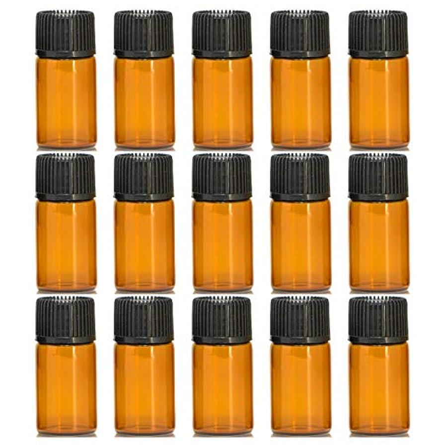 ミュウミュウ地上で影響力のあるアロマオイル 精油 遮光瓶 遮光ビン ガラスボトル ガラス製 エッセンシャルオイル 保存用 保存容器詰め替え 茶色 ブラウン(3ml?15本セット)予備入り