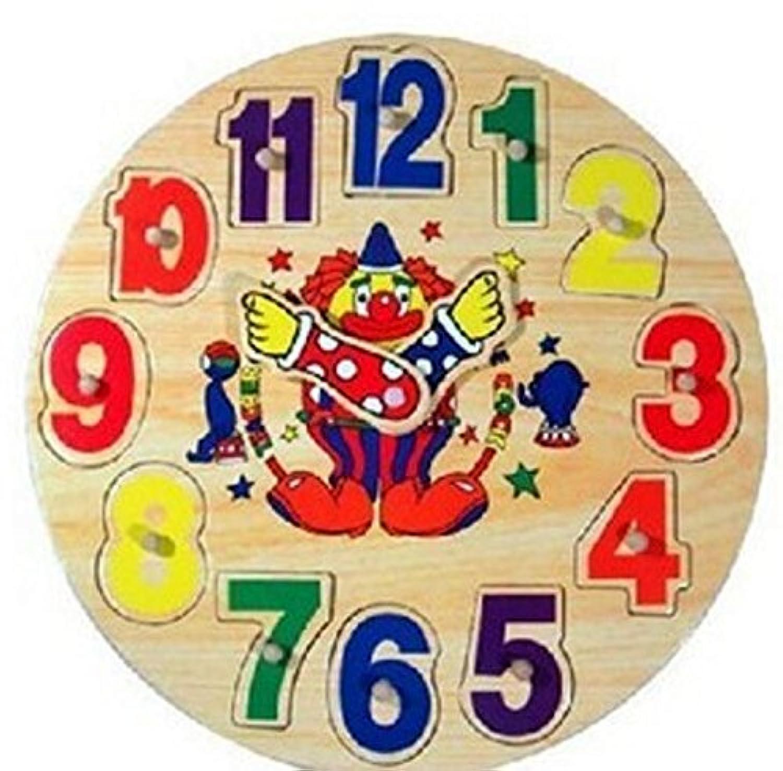 HuaQingPiJu-JP 子供のための教育木製時計玩具アーリーラーニングタイムナンバーシェイプカラー認知玩具