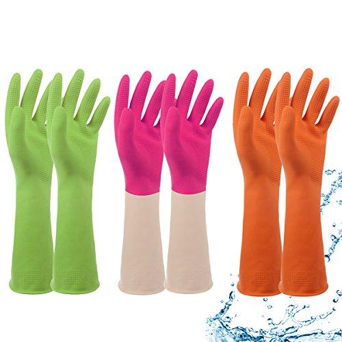 ファミリー 天然ゴム手袋 3双入 裏起毛無し S/M/L(オレンジ/緑/ピンク)