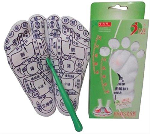【HARU】足つぼ プリント ソックス 靴下&つぼ押しスティック棒 セット 日本語簡易足つぼ説明書付き (38(24cm))