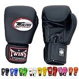 TWINS ツインズ 本革製キックボクシング グローブ 黒 12オンス