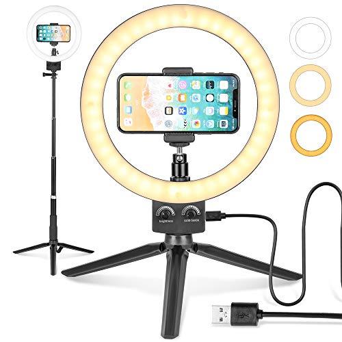 LEDリングライト照明キット外径9インチ 3色無段階調光モード USB卓上スタンド 高輝度照明スマートフォンスタンド付き調光可能 Youtubeビデオ/自撮り写真/美容化粧/カメラ撮影 - Lomia