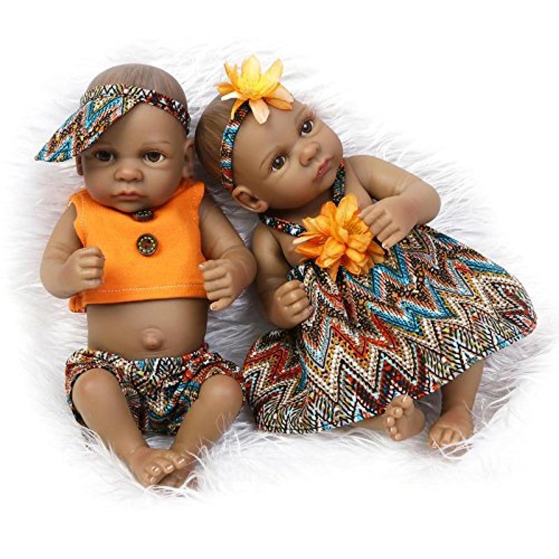 NPKDOLLインドスタイルブラックスキンハードシミュレーションシリコンビニール10インチ26 cm防水おもちゃオレンジ少年少女Reborn Baby Bath人形withアクリル目a1us