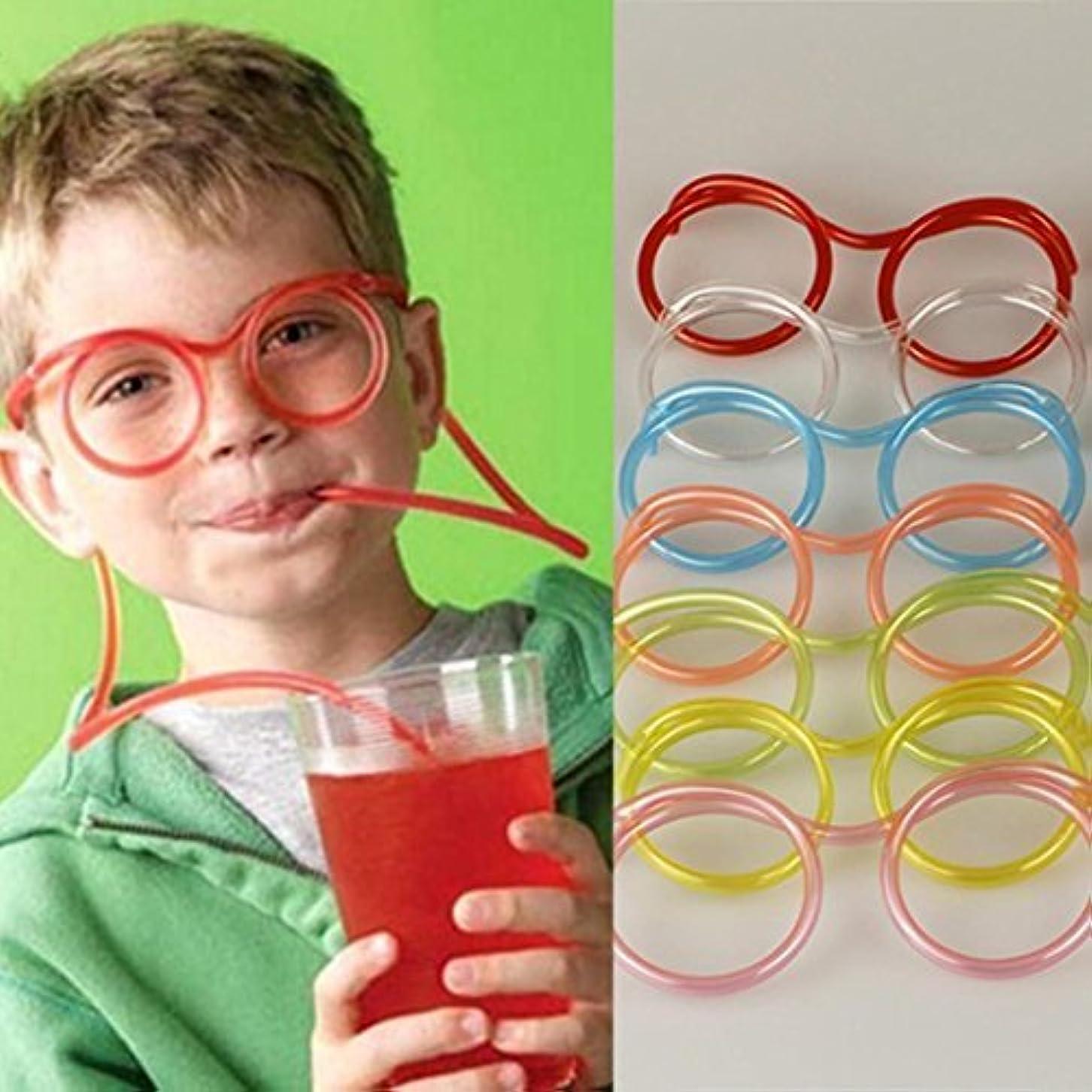 子供の狂った管の柔軟なギフトパーティーストロー楽しい目新しさを飲んでガラスの供給
