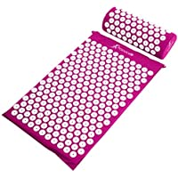 ProSource Acupressure Mat and Pillow Set for Back/Neck Pain Relief and Muscle Relaxation, Purple