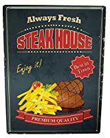 なまけ者雑貨屋 【Fun Steak House】 ブリキ 看板 レトロ アメリカン 雑貨 ヴィンテージ風