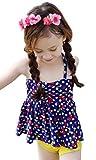 (トヨベイ)Toyobuy 可愛い 子供用 水着 キッズ 女の子 スクール セパレート スイムウエア キャミソール ショートパンツ 2点セット 海水浴 温泉 スイミング ドット ネイビーXL