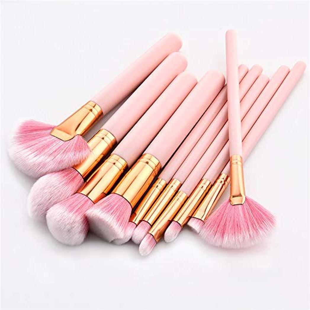 蓋特徴づける恥ずかしさXULHKA 10ピース化粧ブラシセットピンクハンドル女性財団メイクアップブラシツールキット用リップ