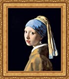 (v06–03–04) Johannes Vermeer_女の子_ with a Pearl_イヤリング_フレーム_キャンバス_ Giclee_プリント_ w22_ X h26 +[Large] #11-Gold V06-04K-MD535-01