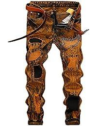 Mirroryou ジーパン メンズ デニムパンツ ヴィンテージ風 カッコイイ ローライズ ジーンズ 刺繍 ダメージ加工 ウォッシュ加工 クラッシュ スキニー パンツ テーパード ファッション