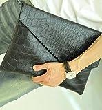 スマートクラッチバッグ ユニセックス(クロコダイル ver2 ブラック)