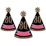 シック80th Birthday – ピンク、ブラックとゴールド – Mini円錐Birthday Party Hats – Small Little Party Hats – 10のセット