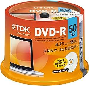 TDK データ用DVD-R 4.7GB 1-16倍速対応 パールカラーディスク(タイトルライン付き) 50枚スピンドル DR47ALC50PUE