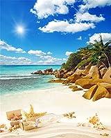 aofoto 4x 5ft Seasideハワイアン写真スタジオ背景Beach Backdropドリフトボトルヒトデシェルブルースカイクラウド島休日旅行Kid芸術的肖像写真の撮影小道具ビデオドレープ