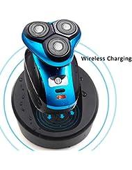 電気かみそりの人、ひげをそるシェーバーIPX 7充電スタンド付きクレンジングブラシ/ひげ/鼻トリマー付き充電式乾式か乾式かみそりメンズロータリーシェーバーUSB 3 Dワイヤレス充電式