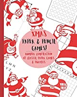 Paper & Pencil games!: Cute Christmas retro vintage santa themed travel & activity game book with game instructions! Features 4 in a row, hangman, hexagon game sims, Sea Battle, Tic tac toe & dots & boxes & mazes