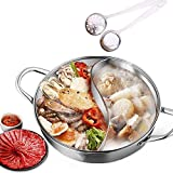 Eanpet Yuanyang Hot Pot with Divider Stainless Steel Pot for Electric Induction Cooktop Gas Stove (36cm 21oz, Include 2 Pot Spoons)