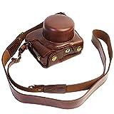 FIRST2SAVVV XJD-J5-HH10 ダークブラウン 高品質の Nikon 1 J5 with 10-30mm Lens 専用 防水 PU レザー 一眼レフ カメラバッグ カメラケース ハンドストラップ 付き