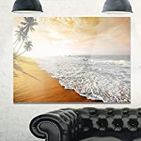 Design Art MT10748-3P 砂浜&落ち着いたブルーシーサーフ コンテンポラリー シーケープ メタルウォールアート (3ピース)、ゴールド、36x28インチ