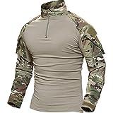 TACVASEN タクティカル シャツ 長袖 ミリタリーTシャツ TDUシャツ メンズ アウトドア スポーツシャツ 自衛隊迷彩 サバゲー装備 CP S