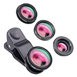 Yarrashop 4-in-1 アイフォンカメラレンズキット クリップ式 C-PLフィルター 180°魚眼 10xマクロ 0.65x広角レンズ スマートフォン/デジタルカメラ IPAD 用 (ブラック)