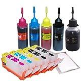 キャノン ( CANON ) BCI-320 + BCI-321 ) 5色セット 詰め替えインクカートリッジ ( 自動リセットチップ付き ・ スケルトンタイプ ) + 互換インク (純正の約5倍)≪ベルカラー≫