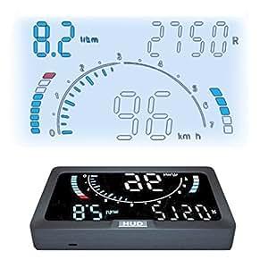 ニコマク NikoMaku HUD ヘッドアップディスプレイ OBD2 【4.3インチ 8種画面選択 A200】 日本語説明書 車載スピードメーター 時速をフロントガラスに 過速度警告搭載 反射フィルム付き